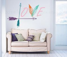 Boho Love wall decal with arrows and feathers wall by ValdonImages