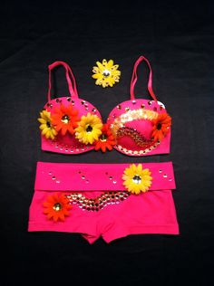 EDC, rhinestone & daisy Rave, Hippie, costume, dance, festival, neon pink, orange and yellow lace decorated bra top , shorts  rave outfit