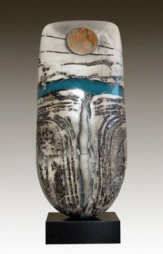'Totem' sculpture with blue resin band. Signed Peter Hayes 09