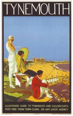 A 1920 railway poster showing Tynemouth's Long Sands and the old toy factory