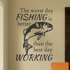 Funny Worst Day Fishing Better Vinyl Wall Lettering Quote Decal