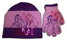 Disney Little Girls Royal Princess Hat and Mitten Set Purple One Size * Learn more by visiting the image link.