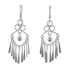 Fine Silver Plated Fan Ball Drop Earrings