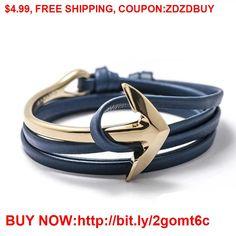 2016 Fashion Jewelry Hot Sale 76cm PU Leather Bracelet Men Anchor Bracelets For Women Best Friend