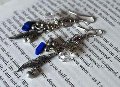 Charming Lapis Lazuli Lucky Charm Dangle Earrings.