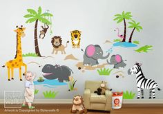 Safari Jungle Animals HUGE Wall Decal Set Monkey Giraffe Elephant Lion Zebra Tiger Crocodile Hippo Nursery Kids Playroom Room Sticker Art on Etsy, £132.67
