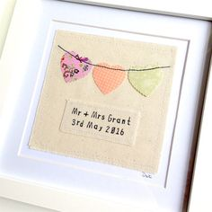 Personalised bunting, framed wall art picture gift, machine stitched hearts. Wedding, anniversary, love