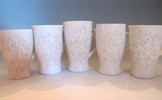 Swirly White Mugs with Narrow Flared Base by PotterybyLisa on Etsy, $28.00