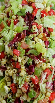 Portillo's Chopped Salad - pasta, red cabbage, lettuce,  bacon -chicken optional