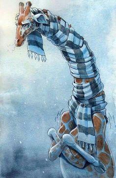 Frierend Giraffe mit Riesenschal im kalten Winter  Its too cold