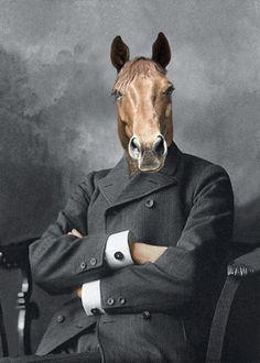 Horse Art Mister Ed Whimsical Animal Art di AnimalFancy su Etsy