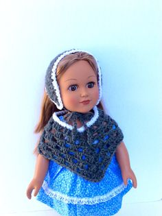 18 Inch Doll Gray and White Poncho and Hat by DonnaDesigned