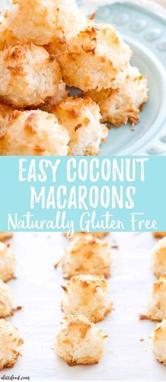 Easy Coconut Macaroons These easy homemade Coconut Macaroons are so simple to make and taste delicious! This Coconut Macaroon recipe has only 7 ingredients, making it the easiest gluten-free dessert! Plus, a step-by-step video below! Easy Gluten Free Desserts, Gluten Free Snacks, Gluten Free Cookies, Gluten Free Baking, Easy Desserts, Simple Dessert Recipes, Healthy Desserts, Delicious Desserts, Gluten Free Coconut Macaroons