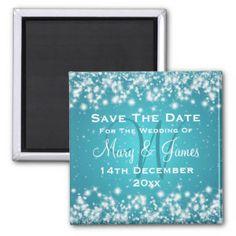 Elegant Wedding Save The Date Winter Sparkle Blue Refrigerator Magnet.