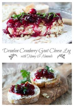 Drunken Cranberry Goat Cheese Log   SimpleHealthyKitchen.com Goat Cheese Recipes, Cheese Appetizers, Appetizers For Party, Cheese Snacks, Cheese Bites, Christmas Appetizers, Party Snacks, Yule, Cheese Log