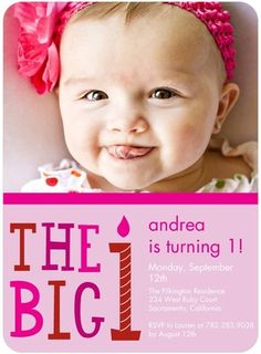First Candle - Birthday Party Invitations - DwellStudio - Dusty Rose - Pink : Front