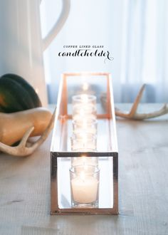 copper and glass candleholder