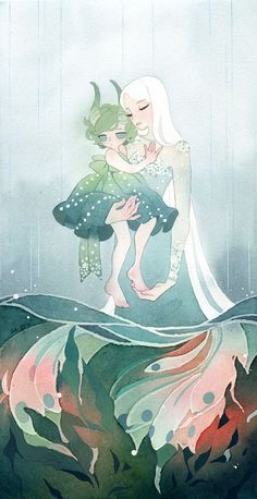 Shallow end, an art print by Riikka Auvinen - INPRNT Art And Illustration, Fantasy Kunst, Fantasy Art, Anime Kunst, Anime Art, You Draw, Cute Drawings, Cute Art, Art Inspo