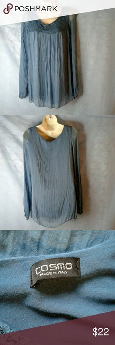 """COSMO BLUE CRINKLE PULLOVER LONG SLEEVE TOP EYELET DESIGNED TOP,  CRINKLE BODY,  AND SLEEVES,  ARM PIT TO ARM PIT 2O"""", 26"""" SLEEVES, ELASTIC CUFFS,  FULLY LINED.  MISSING SIZE AND CARE TAG,  SIZE MEDIUM, GREAT PRE-LOVED CONDITION, NO SIGNS OF WEAR COSMO  Tops Blouses"""