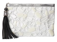 Rafe New York Large Celia Clutch Sea Glass beads with silver snakeskin trim