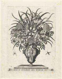Groteske vaas met twee oren in de vorm van koppen van bokken, anoniem, Jacobus Kempener, Johannes Sadeler (II), ca. 1500 - ca. 1600