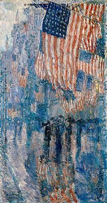 In Memory of the Fallen:  Avenue in the Rain by Childe Hassam Hangs in the Oval Office to the left of the President's desk and has through years and years of various President's redecorations.