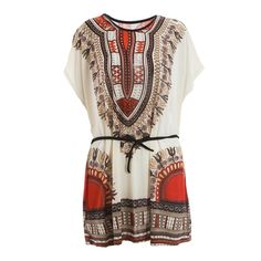 7.62$  Watch now - http://diqnc.justgood.pw/go.php?t=YM5705101 - Batwing Sleeve Retro Style V-Neck Ethnic Pattern Dress For Women