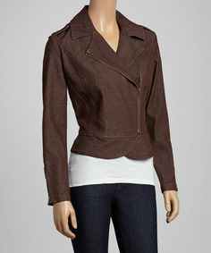 Look what I found on #zulily! Brown Motorcycle Jacket by Live A Little #zulilyfinds