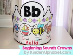 Adorable Beginning Sounds Crowns. Students will work on beginning sounds, letter names, math patterns, writing, and fine motor skills :)