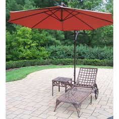 Outdoor Oakland Living Elite Cast Aluminum Chaise Lounge Set with Cantilever Umbrella - 1108-2106-4110-BO-3-AB