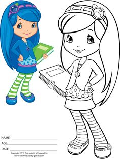 Strawberry Shortcake Coloring Page To Print Featuring Blueberry Muffin