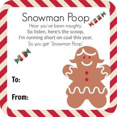 Snowman Poop (With Poem) Fill a bag with marshmallows and attach this poem for a great and funny Christmas gag gift! This snowman poop is a great Christmas party favor. Popsicle Stick Christmas Crafts, Edible Christmas Gifts, Christmas Crafts For Toddlers, Christmas Party Favors, Christmas Poems, Handmade Christmas Gifts, Christmas Humor, Kids Christmas, Christmas Recipes