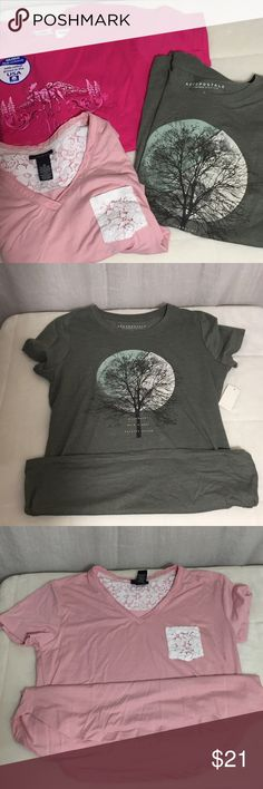 Aeropostale, rue 21 and Gilman Tees Green Aeropostale Tee with nature graphic is NWT. Size Large. Retail $19.50  Light pink rue 21 tee with lace pocket and trim on inside of back neckline.  NWOT. Size M, Retail $16.00  Bright Pink Goldman Tee has an Alaska graphic. NWT. Size M, Retail $9.88 Tops Tees - Short Sleeve