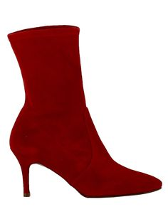 STUART WEITZMAN | Stuart Weitzman Stuart Weitzman Red Suede Ankle Boots #Shoes #Boots #STUART WEITZMAN