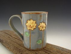 Ceramic Coffee Mug in Country Blue with Tall Sunflowers - by DirtKicker Pottery