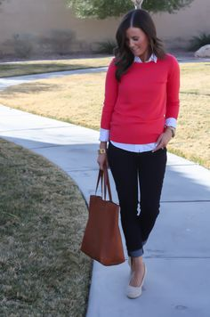 Love the look of this outfit. Sweater over button down shirt, denim leggings, brown tote bag