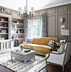 AphroChic: Nate Berkus Presents A Rich Color Palette of Blue, Gold and Coral In The Home Of Iyanla Vanzant Small Space Interior Design, Top Interior Designers, Modern Interior Design, Interior Design Living Room, Simple Interior, My Living Room, Home And Living, Living Room Decor, Living Spaces