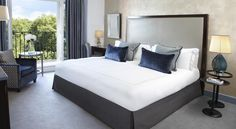 A room at The Berkeley Hotel in London. Blue-grey color scheme