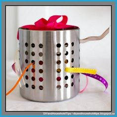 DIY And Household Tips: Turn A Dollar Store Utensil Holder Into A Ribbon O...