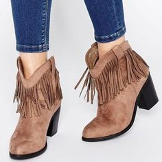 ASOS Fringe Booties Tawny suede ASOS fringe booties. Size 9. WORN 1 TIME! ASOS Shoes Ankle Boots & Booties