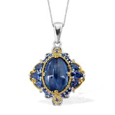 Liquidation Channel: Himalayan Kyanite and Kanchanaburi Blue Sapphire Pendant with Chain (20 in) in 14K Yellow Gold and Platinum Overlay Sterling Silver (Nickel Free)