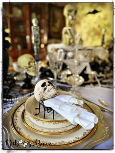 DIY Eerie, Elegant Black Pumpkin Decor - Debbee's Buzz Skeleton Decorations, Scary Halloween Decorations, Halloween Table, Halloween Skeletons, Halloween Diy, Halloween 2020, Halloween Chandelier, Tiffany Theme, Gothic Glam