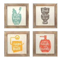 The Stratton Home Decor Set of Rules Wall Art is a modern, bold, colorful collage for any bathroom. The playful prints of floss flush wipe and wash framed in wood. Great addition to your bathroom wall decor. Each art piece measures at 10 i Home Decor Sets, Wall Decor Set, Wall Art Sets, Framed Wall Art, Wall Collage, Wall Décor, Pvc Wall, Wood Wall, Bathroom Rules