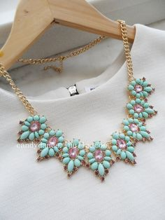 Mint and Purple Jewel Crystal Statement Necklace