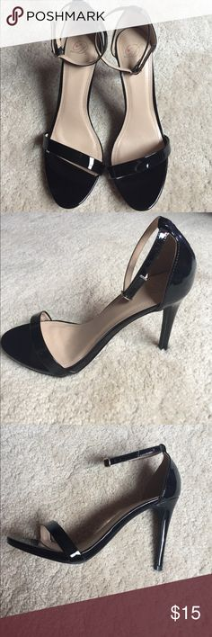 Black Heels Black patent leather heels with ankle strap and strap across the toe. Never worn. Delicious Shoes Heels