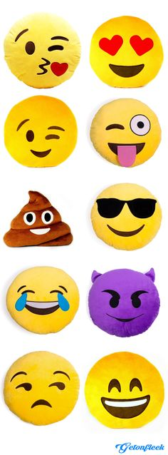 Emoji Pillows - Check out the entire collection! www.getonfleek.com http://amzn.to/2st4h5F