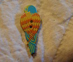 Button 32mm Retired Laurel Burch Enamel On Metal Parrot