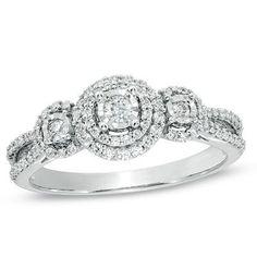 1/3 CT. T.W. Diamond Three Stone Split Shank Ring in 10K White Gold