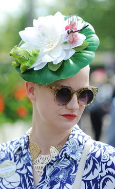 Pin for Later: Every Day Should be Ladies' Day at Royal Ascot Hats at Royal Ascot 2014 Crazy Hat Day, Crazy Hats, Katherine Jenkins, Old Lady Costume, 1920s Costume, Royal Ascot Hats, Mad Hatter Costumes, Zara Phillips, Fascinator Hats