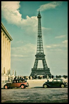1952 Paris A View of the Eiffel Tower Old Cars by eeBeeVintage, $29.99